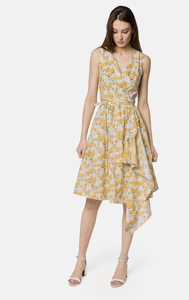 5a5e3fcbe1e Хлопковое платье приталенного силуэта длины миди с V-образным вырезом. С  запахом.